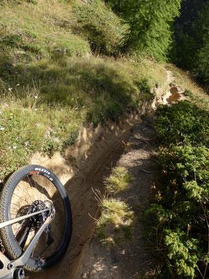 Radtiefe Furchen im Trail