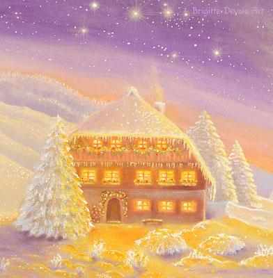 Brigitte-Devaia ART - Winterzauber Engel - Auschnitt Haus