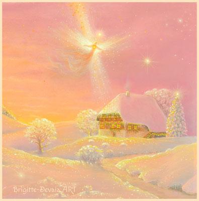 Brigitte-Devaia ART - Haussegen-Engel und Naturzauber - Bildausschnitt segnender Engel über dem Hüsli