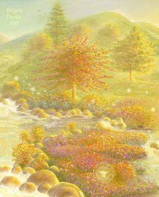 Brigitte-Devaia ART - Engelbächli - Ausschnitt Ufer mit kleiner Elfe unten zwischen den Blumen