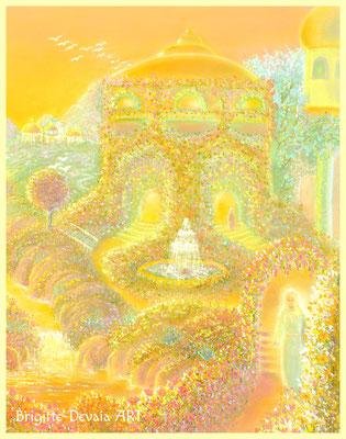 Brigitte-Devaia ART - Jenseitige Landschaft im goldenen Licht - Ausschnitt die Spaziergängerin beim Tempel