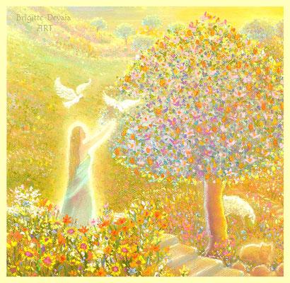 Brigitte-Devaia ART - Jenseitige Landschaft im goldenen Licht - Ausschnitt Baum