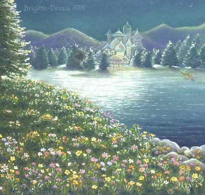 Brigitte-Devaia ART - Rehkitz-Schutzengelfee - Ausschnitt Blumenwiese und Feenpalast