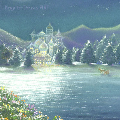 Brigitte-Devaia ART - Rehkitz-Schutzengelfee - Ausschnitt See und Feenpalast