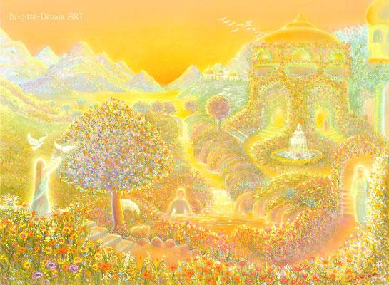 Brigitte-Devaia ART - Jenseitige Landschaft im goldenen Licht