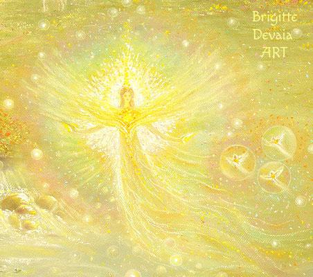 Brigitte-Devaia ART - Engelbächli - Ausschnitt Lichtwesen Elfe mit kleinen Elfen rechts