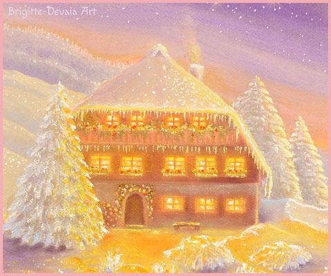 Brigitte-Devaia ART - Winterzauber  - Auschnitt Haus