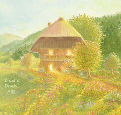 Brigitte-Devaia ART - Bluemehüsli Fee - Auschnitt Haus und Garten