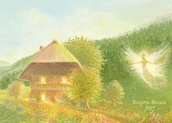 Brigitte-Devaia ART - Bluemehüsli Fee (Blumenhäuschen Fee) - Bildausschnitt Hüsli und Garten-Fee