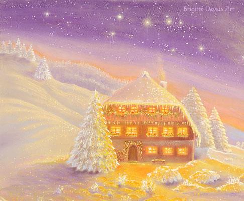 Brigitte-Devaia ART - Winterzauber Engel - Ausschnitt Haus