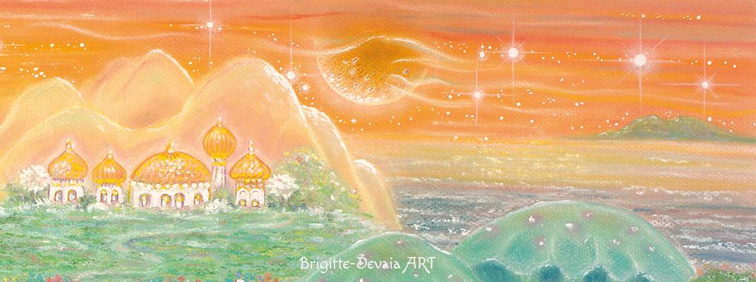Brigitte-Devaia ART - Sternenwelt Venus - exotische Landschaft - Auschnitt Sternenhimmel