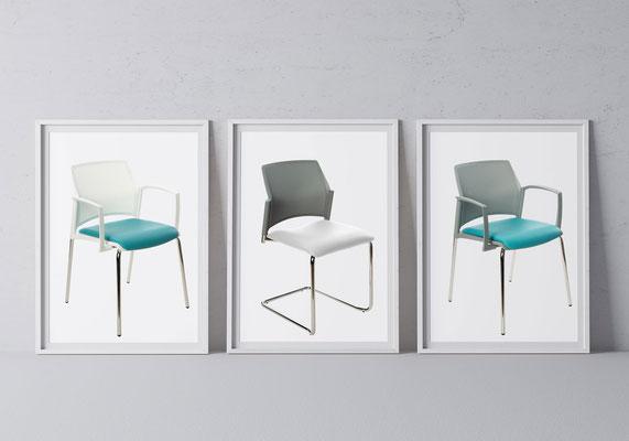 """""""Wie eine frische Brise"""" wirkt der Wartezimmerstuhl SPIRITO im klinisch weißen Look oder in einem eleganten Softgrau."""
