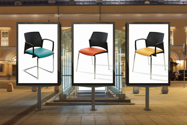 """Der Wartezimmerstuhl SPIRITO der Serie """"Urban Style"""" mit schwarzem, atmungsaktiven Kunststoffrücken im angesagten Lochraster-Design bringt mit seinem besonderen Look ein modernes Design in Ihr Wartezimmer."""
