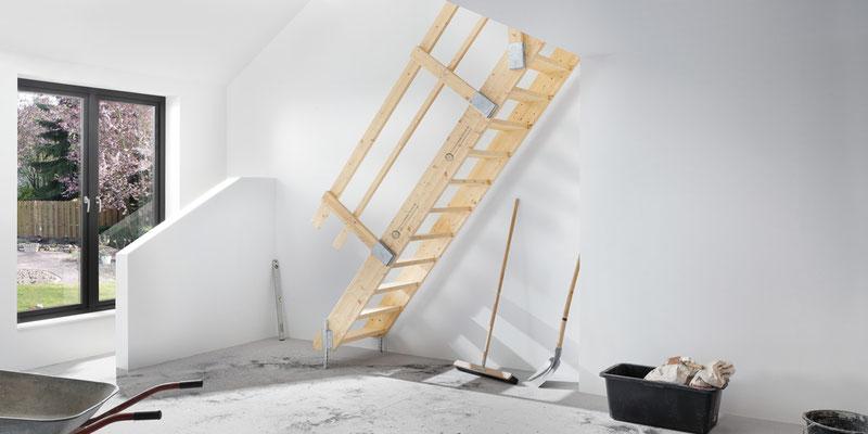 Bucher Treppen - moderne Treppenherstellung mit Präzision - Baustellentreppe aus Holz.