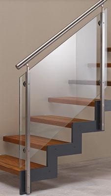 Bucher Treppen - Treppenmodell Ferro - Stahl, Holz, Glas