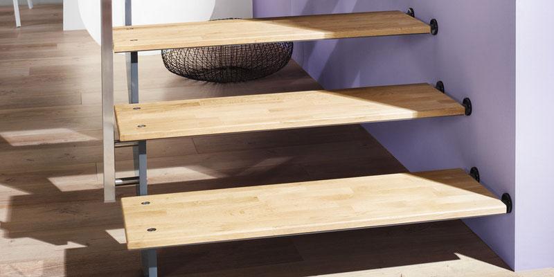 Bucher Treppen - Treppenmodell AIR - extra dünne Stufen aus Eichenholz auf Stahl