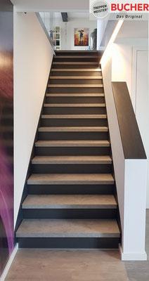 Bucher Treppen - moderne Holzstufen für Betontreppen. Massive Holzstufen auf Beton, Treppenherstellung mit Präzision: CAD gestützt - 50 Jahre Erfahrung - nur Holzstufen / Trittstufen auf Beton - Diamontstufen auf Beton