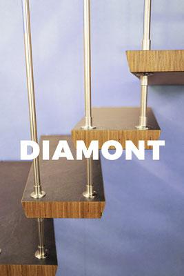 Bucher Treppen - DIAMONT Stufen - mit sichtbarer Massivholzkante und graphit