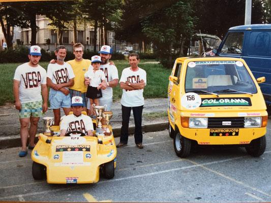 """1988: Mit dem Team """"Logos-Protoscar"""" beteiligte man sich an e-Auto Rennen in Italien, Deutschland, Österreich und der Schweiz - mit einigen Erfolgen."""