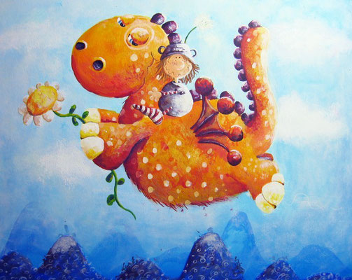 """Drachenreiter"" - Acrylpapier - ca. 24 x 30 cm - Preis: 310,00 Euro"