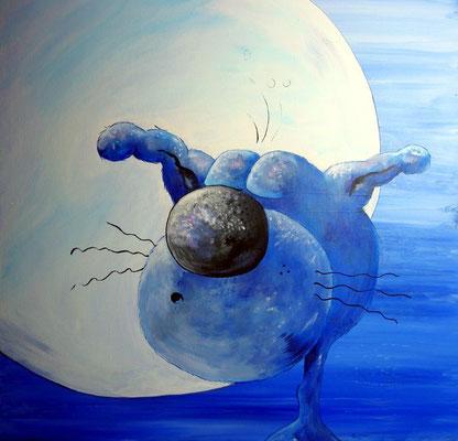 """""""Katzenjammer"""" - Katze, Mond - Leinwand 50 x 50 cm - Preis: 220,00 Euro"""