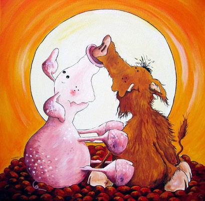 """""""Rüsselei"""" - das gemeine Hausschwein und die wilde Wutz- Leinwand 40 x 40 cm- Preis: 250,00 Euro"""