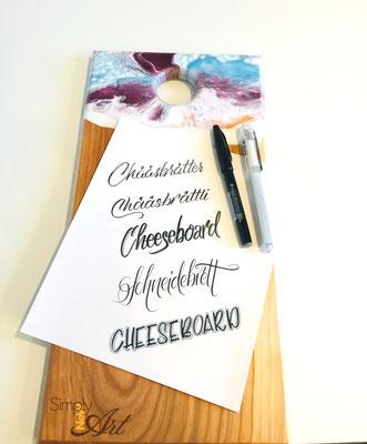 Simply-NeW-Art-Nelly-Wüthrich-Handlettering-Brushlettering-Faux-Calligraphy-Kinder-Workshop-Brienz-Thun-Gwatt-Wichtrach-Schneidebrett
