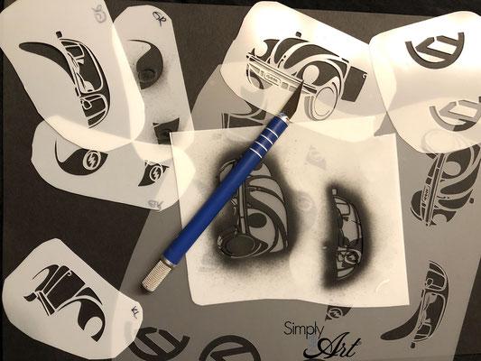 Simply-NeW-Art-Nelly-Wüthrich-Schablone-VW-Käfer-Airbrushtattoo