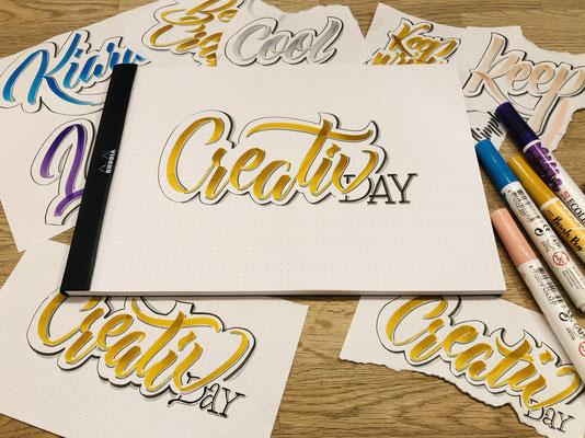 Simply-NeW-Art-Nelly-Wüthrich-Kehrli-Handlettering-Brushlettering-Faux-Calligraphy-Lettering-Kinder-Workshop-Bern-Brienz-Thun-Gwatt-Wichtrach-Creativ-Day