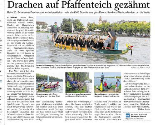 Schweriner Volkszeitung den 29.08.2016