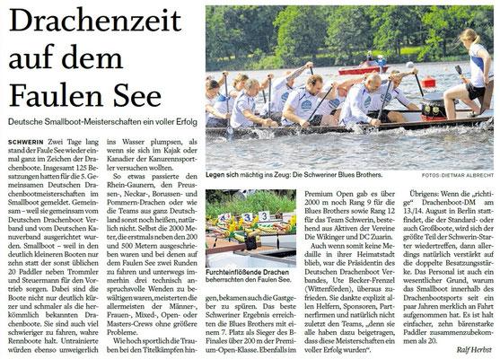 Schweriner Volkszeitung den 22.06.2016