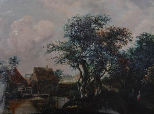 Meindert Hobbema   »Alte Mühle«  Öl/Holz  68 x 52 cm   -Kopie- K.Pillon