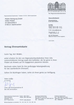 Ehrenamt Anschreiben und Vertrag Ehrenamtkarte