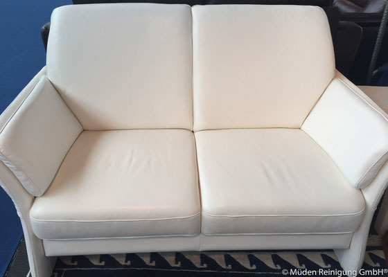 Bild 1 Lederpolster Weiß Zweisitzer
