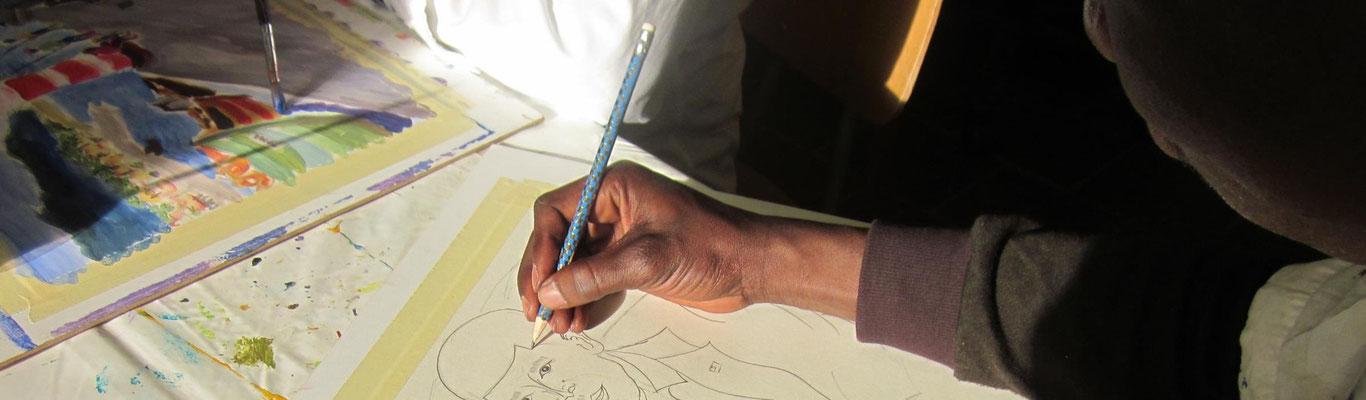 Mohr-Villa trifft Flüchtlinge - Malabende in der Kunstwerkstatt
