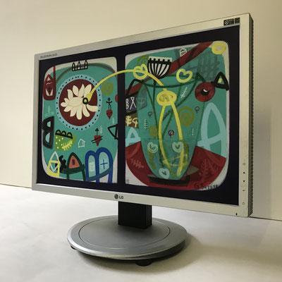 Haus 1952 | 2019 | Monitor | 27,2 × 43,5 cm | Acryl, Ölfarbe, Ölkreide | © BuzziArt 2019