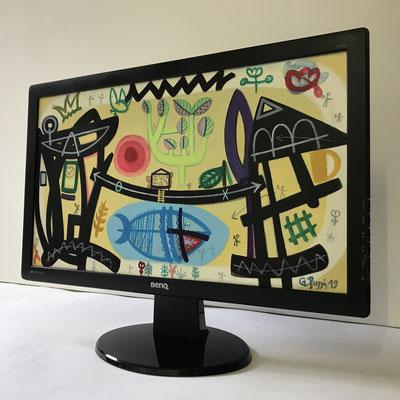 Haifisch Mensch | 2019 | Monitor | 27 × 48 cm | Acryl, Ölfarbe, Ölkreide | © BuzziArt 2019