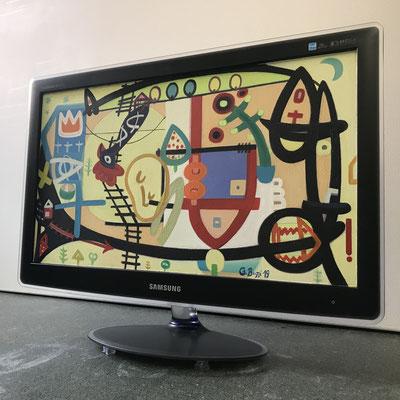 Gefangener Engel | 2019 | Monitor | 28,6 × 51 cm | Acryl, Ölfarbe, Ölkreide | © BuzziArt 2019
