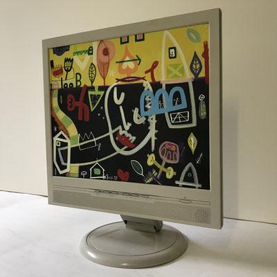 Liebkosung | 2019 | Monitor | 27,1 × 33,8 cm | Acryl, Ölfarbe, Ölkreide | © BuzziArt 2019