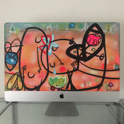 An apple to sadness | 2020 | Monitor, acrylic paint, oil paint, oil pastel | 39 × 64,5 cm
