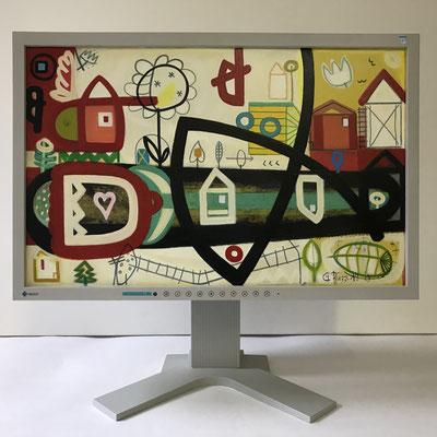 Blumengeburt | 2019 | Monitor | 29,7 × 47,3 cm | Acryl, Ölfarbe, Ölkreide | © BuzziArt 2019