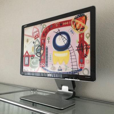 Wahrnehmung meiner Sinne | 2020 | Monitor, acrylic paint, oil paint, oil pastel | 29,8 × 47,5 cm