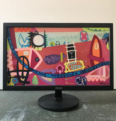 Stadtbach Bümpliz | 2019 | Monitor | 27 × 47,8 cm | Acryl, Ölfarbe, Ölkreide | © BuzziArt 2019