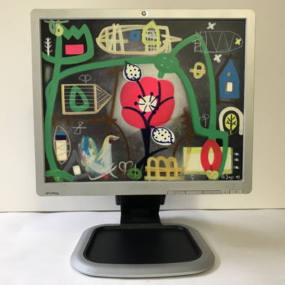 Liebste Mohnblume | 2019 | Monitor | 30 × 37,5 cm | Acryl, Ölfarbe, Ölkreide | © BuzziArt 2019