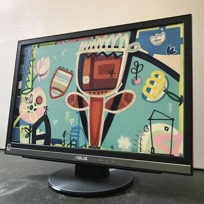 Mutters Garten | 2019 | Monitor | 29,7 × 47,5 cm | Acryl, Ölfarbe, Ölkreide | © BuzziArt 2019