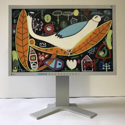 Vogelbesuch, 1954 | 2019 | Monitor | 29,7 × 47,3 cm | Acryl, Ölfarbe, Ölkreide | © BuzziArt 2019