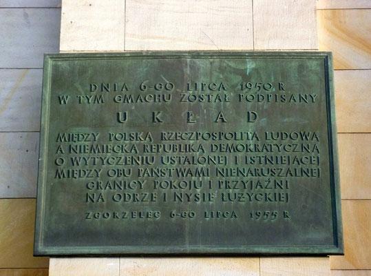 """Erinnerungstafel anlässlich des 5. Jahrestages des """"Görlitzer Abkommens"""""""