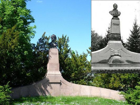 J.W. v. Goethe (1902), Goethestr., ehemals mit Springbrunnen, Büste und Zwischensockel wurden 1942 für die Rüstung eingeschmolzen, neue Plastik 1949