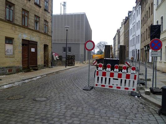Pflasterspur der Ringbahn Salomonstr. aus der Leipziger Str. kommend - verschwand 2013