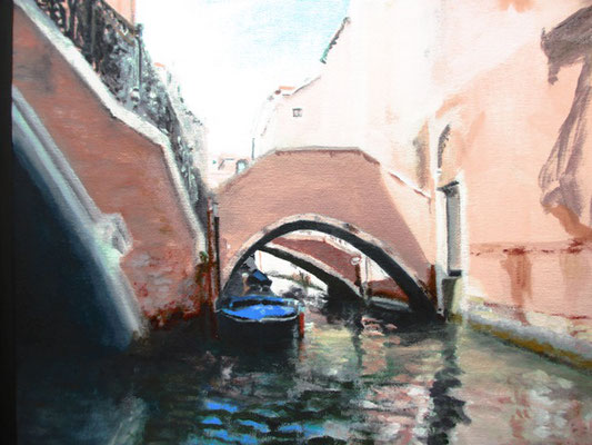 Venetië gondeltocht 2; 34x28 cm (canvas board)